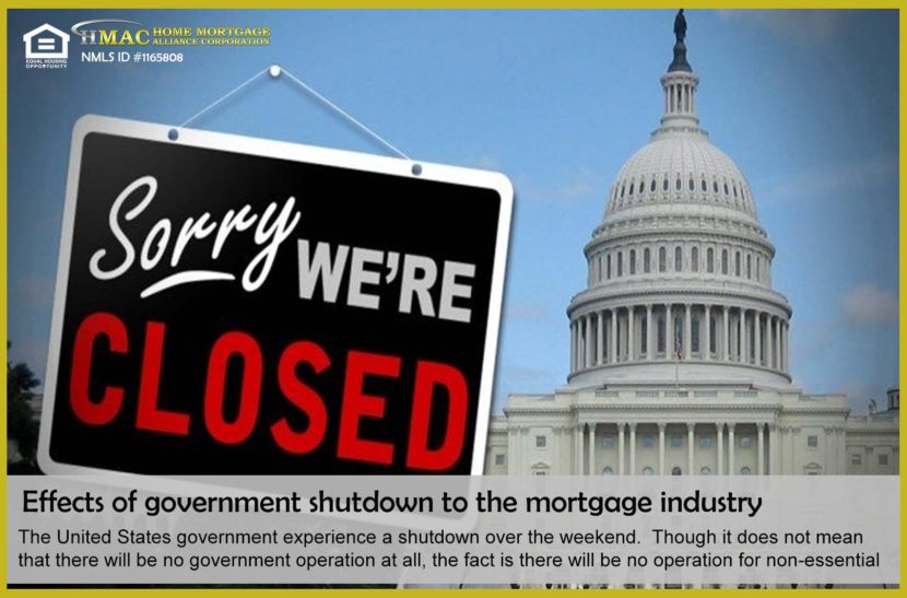 Effects of government shutdown to mortgage industry