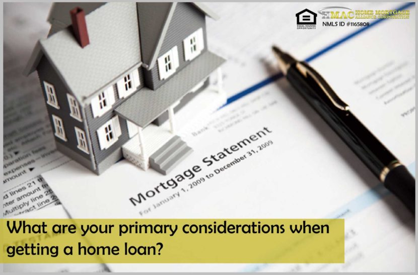 What are your primary considerations when getting a home loan?